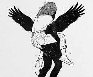 angel, art, and couple image