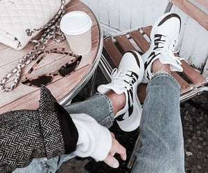 style, bag, and coffee image