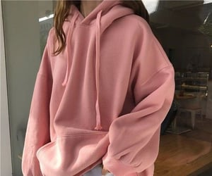aesthetic, pink, and hoodie image