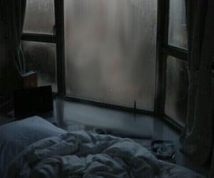rain, bed, and window image