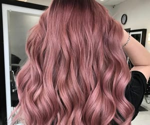 wavy hair, rose gold hair, and rose hair color image