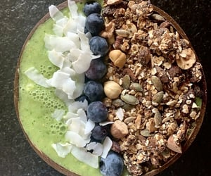 blueberries, bowl, and breakfast image