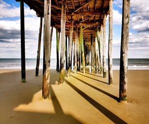 boardwalk, ocean, and scenery image
