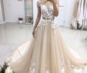 wedding gown, champagne wedding dress, and elegant wedding dresses image