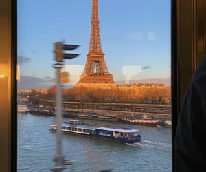 boats, city, and eiffel tower image