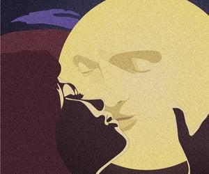 moon, art, and kiss image