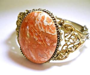 WHITING & DAVIS Peach Agate Bracelet Hinged Art Nouveau image 0