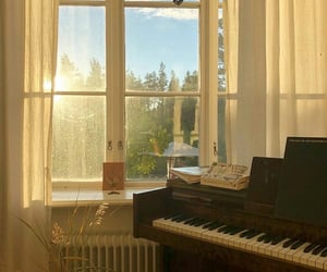 piano, window, and golden hour image