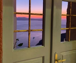 sunset, sea, and view image