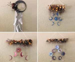 dreamcatcher, driftwood, and dried flowers image