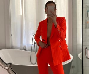 hoops, red suit, and business woman image