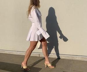 blonde hair, handbag, and yellow heels image