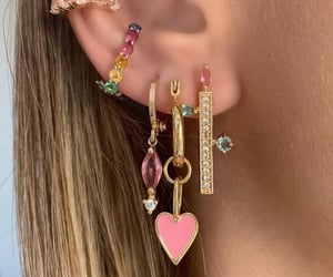 earring, hearts, and pastels image