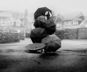umbrella, girl, and black and white image