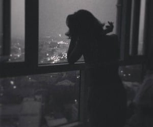 girl, black and white, and night image