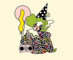 balloons, clown, and hat image