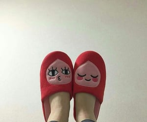 red, aesthetic, and slippers image