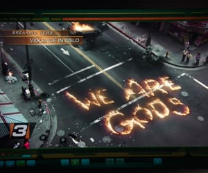 city, fire, and message image