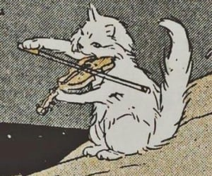 cat, violin, and aesthetic image