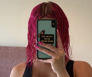 aesthetic, pink hair, and mirror pic image