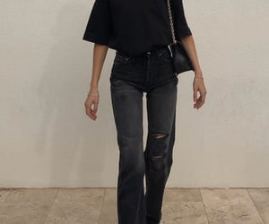black boots, black shoulder bag, and outfit of the day ootd image