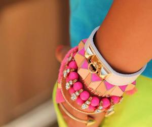 bracelet, pink, and neon image