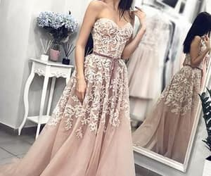 robe de soirée, champagne prom dress, and elegant prom dresses image