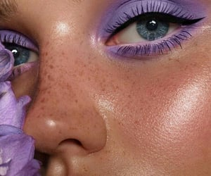 eyes, freckle face, and purple image