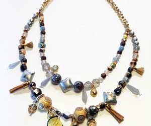 beaded necklace, blue, and gold image