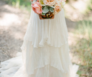 dress, flowers, and bride image
