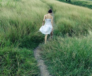 dress, field, and girl image