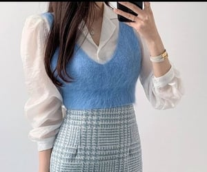blue, fashion, and fluffy image