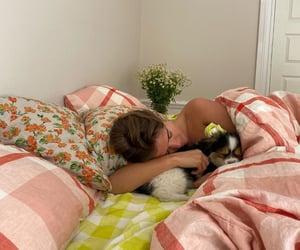 dog, bedroom, and girl image
