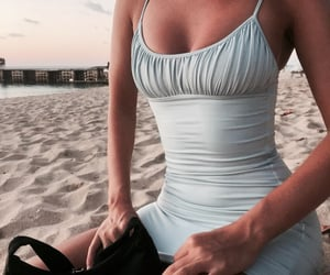 beach, outfit, and dress image