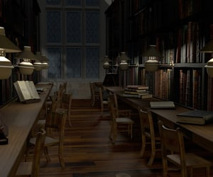 harry potter, hogwarts, and library image