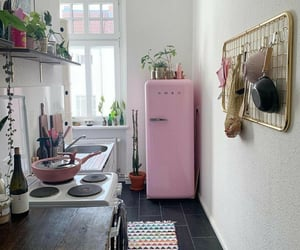 kitchen, pink, and room image