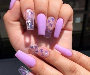 nails, butterfly, and purple image
