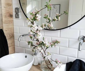 bathroom, flowers, and white image