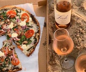 beach, pizza, and wine image