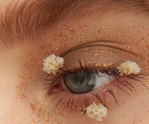 eyes, flowers, and makeup image