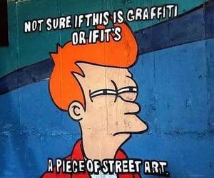 fry, futurama, and street art image