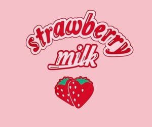 strawberry, aesthetic, and milk image