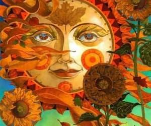 sun, art, and flowers image