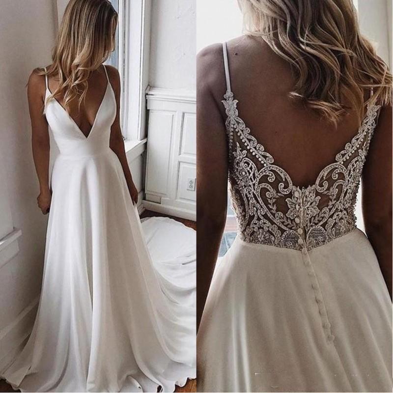 Simple Wedding Dresses For Bride Lace Applique Elegant Off White Cheap Wedding Gown 2021