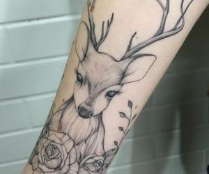 deer tattoo, tattoo, and woman tattoo image
