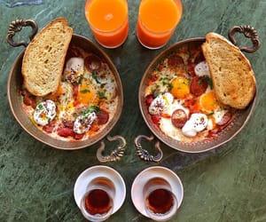tea, shakshuka, and turkish breakfast image