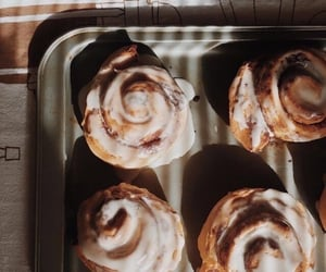 food, dessert, and cinnamon rolls image