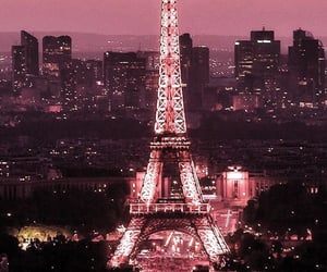 eiffel tower, france, and pink image