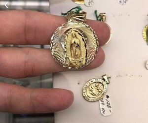 gold, virgen de guadalupe, and gold jewelry image