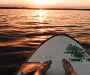 sunset, surfing, and beach image